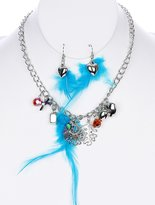 ParisianChic Parisian Chic Necklace And Earring Set Feathers Fabric Lucite Bead Epoxy Crystal Stone Charms