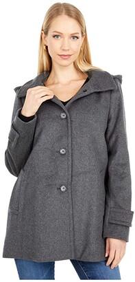 Lauren Ralph Lauren Wool A-Line Reefer Coat with Removable Hood (DF Grey) Women's Coat