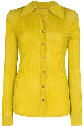 Dodo Bar Or Ribbed-Knit Buttoned Top