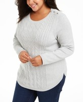 Charter Club Plus Size Cable-Knit Button-Trim Sweater, Created for Macy's