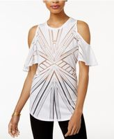 Bar III Cold-Shoulder Sheer Burnout Top, Only at Macy's