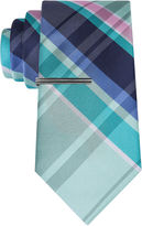 Jf J.Ferrar JF Navy Open Plaid Tie With Tie Bar