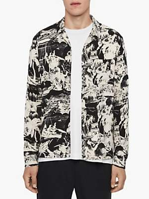 AllSaints Awa Long Sleeve Shirt, Jet Black/Ecru