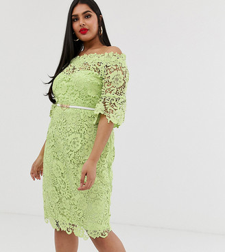 Paper Dolls Plus bardot crochet dress with fluted sleeve in lime