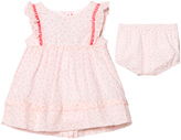 Absorba Light Pink Flower Print Dress with Pom Pom Detail