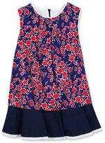 Oscar de la Renta Sleeveless Floral Cotton Flounce Dress, Blue, Size 4-14
