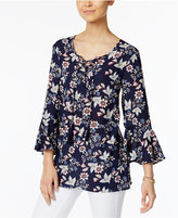 Style&Co. Style & Co Bell-Sleeve Lace-Up Top, Only at Macy's