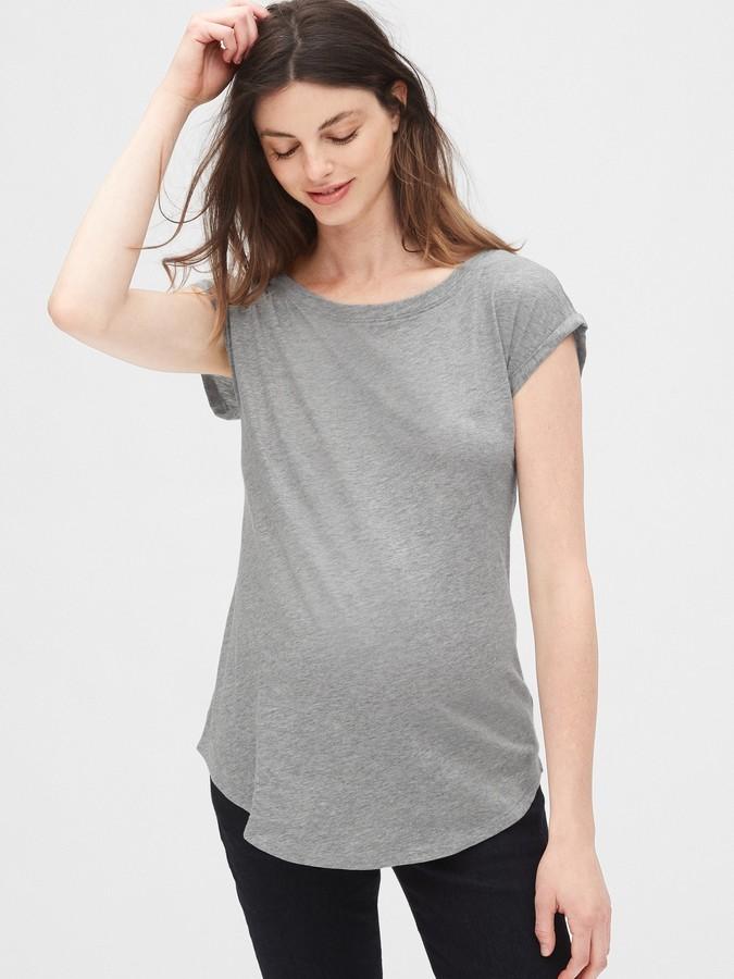 Gap Maternity Slub Roll Sleeve T-Shirt
