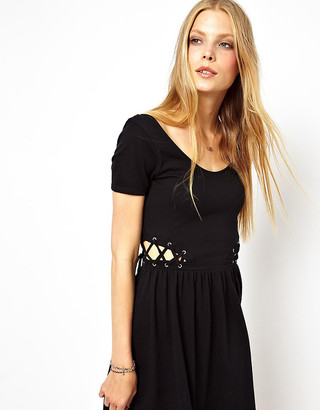 Asos Skater Dress with Lace Up Side