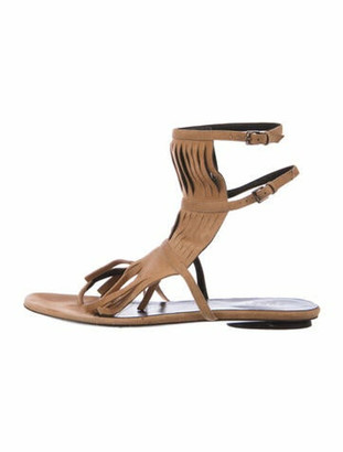 Gucci Suede Fringe Trim Accent Sandals Brown