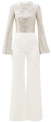 Galvan Modern Love Sequinned Jumpsuit - Womens - White Gold