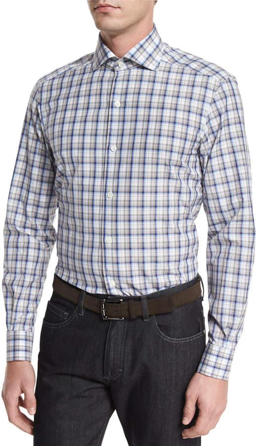 Ermenegildo Zegna Plaid Long-Sleeve Sport Shirt, Beige