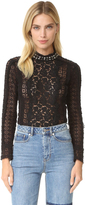 Rebecca Taylor Lace Studded Mock Neck Top