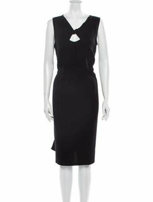 Oscar de la Renta V-Neck Knee-Length Dress Black