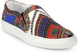 Silk Print & Leather Slip-On Sneakers