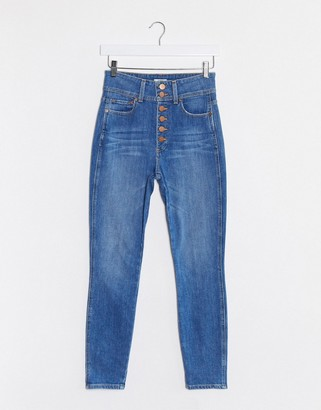 Alice + Olivia Jeans high rise skinny jeans with exposed buttons in blue