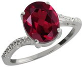 Gem Stone King 1.41 Ct Oval Red Rhodolite Garnet and White Diamond 14k White Gold Ring