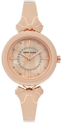 Anne Klein Womens Blush Glitter Semi-Bangle Bracelet Bow Watch