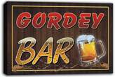 AdvPro Canvas scw3-084420 GORDEY Name Home Bar Pub Beer Mugs Cheers Stretched Canvas Print Sign
