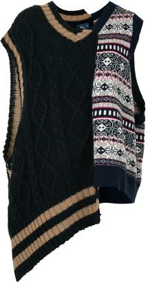 Kolor Patchwork Asymmetric Hem Knitted Vest