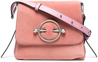 J.W.Anderson Pink Disc suede and leather cross body bag