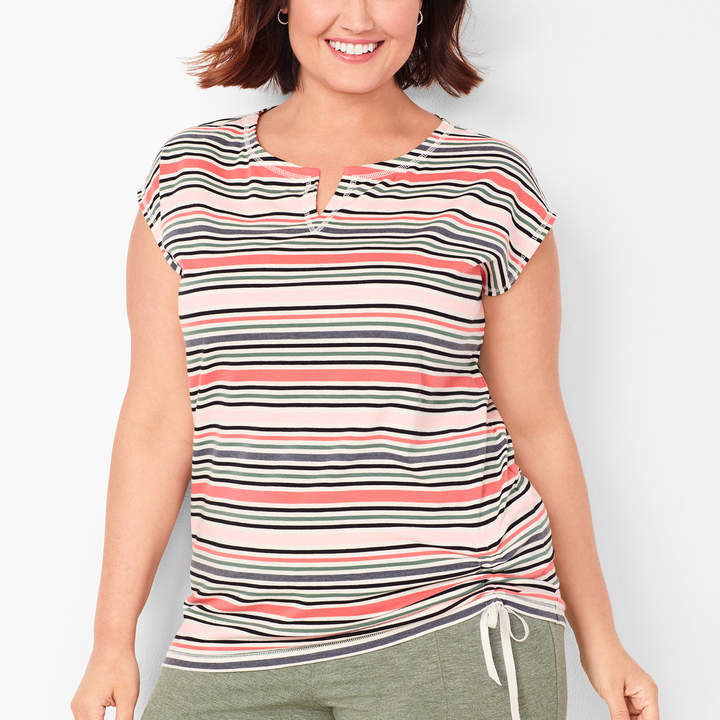 Talbots Side-Cinched Tee - Stripe
