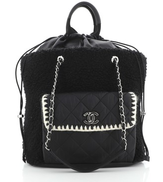 Chanel Coco Neige Shopping Tote Shearling with Quilted Nylon and Calfskin Large