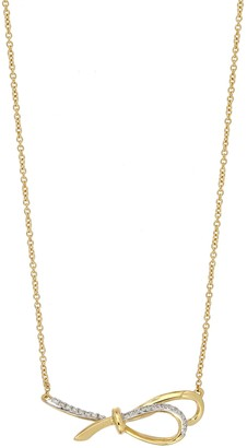 Bony Levy 18K Yellow Gold Pave Diamond Bow Pendant Necklace - 0.05 ctw