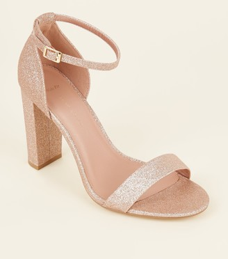 New Look Wide Fit Glitter Block Heels