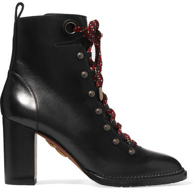 Aquazzura Hiker Lace-up Studded Leather Ankle Boots - Black