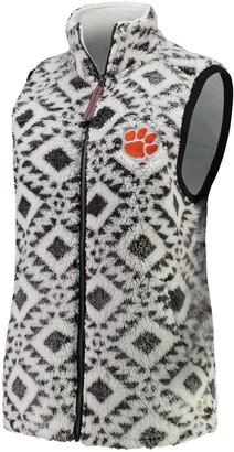 Women's Pressbox White Clemson Tigers Tribal Printed Poodle Fleece Vest