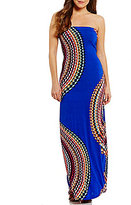 Moa Moa Printed Lattice Back Strapless Maxi Dress