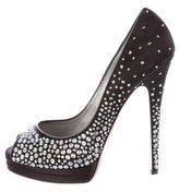 Casadei Embellished Satin Pumps
