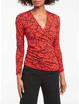 Boden Long Sleeve Wrap Top, Post Box Red/Shadow Floral