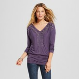 Women's Long Sleeve Banded Bottom Knit Top with Embroidery - Knox Rose