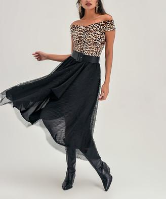 Milan Kiss Women's Cocktail Dresses BLACK - Black Leopard Mesh-Overlay Off-Shoulder Dress - Women