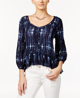 American Rag Tie-Dyed Ruffle Peasant Top, Only at Macy's