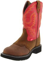 """Justin Boots Women's Gypsy Collection 11"""" Waterproof Boot Fashion Round Toe Black Rubber Outsole,Bay Apache with Perfed Saddle Vamp/Red Cow with Diamond Cut Pull Strap"""