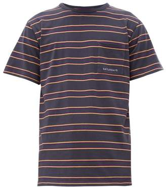 Saturdays NYC Randall Striped Cotton-jersey T-shirt - Mens - Charcoal