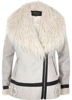 River Island Womens Light grey Mongolian faux fur aviator coat