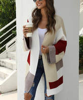 Maison Mascallier Women's Cardigans Redwine - Red Wine & Cream Color-Block Wide-Sleeve Open Cardigan - Women
