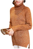 ARJOSA Women's Oversized Cable Knit Stretchy Turtleneck Long Sleeve Casual Pullover Sweater Loose Top ( Brown)