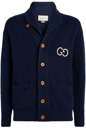 Gucci Wool Logo Embroidered Cardigan