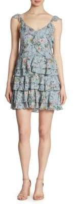 The Kooples Floral-Print Ruffled Silk Dress