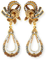 Jose & Maria Barrera Gold-Plated Crystal Swirl Teardrop Clip Earrings