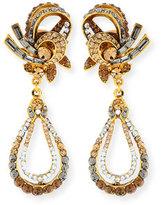 Jose & Maria Barrera Gold-Plated Crystal Swirl Teardrop Clip Earrings