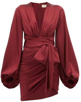 Alexandre Vauthier Plunge-neck Ruched Silk-blend Satin Dress - Womens - Burgundy