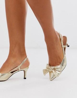 Asos Design DESIGN Sherry bow kitten heels in gold