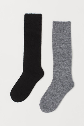 H&M 2-pack Wool-blend Knee Socks - Gray
