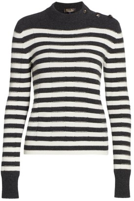 Loro Piana Lupetto Baby Cashmere Striped Knit Sweater
